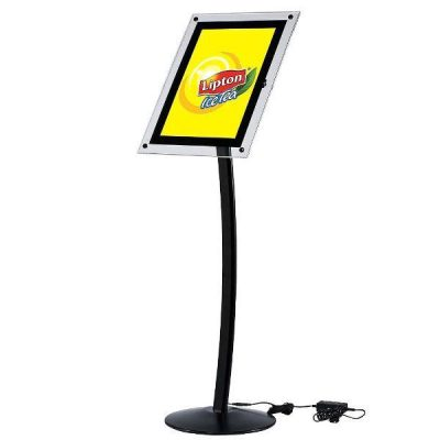 "11"" x 17"" Curved LED Floor Sign & Menu Stand Black Landscape Portrait"