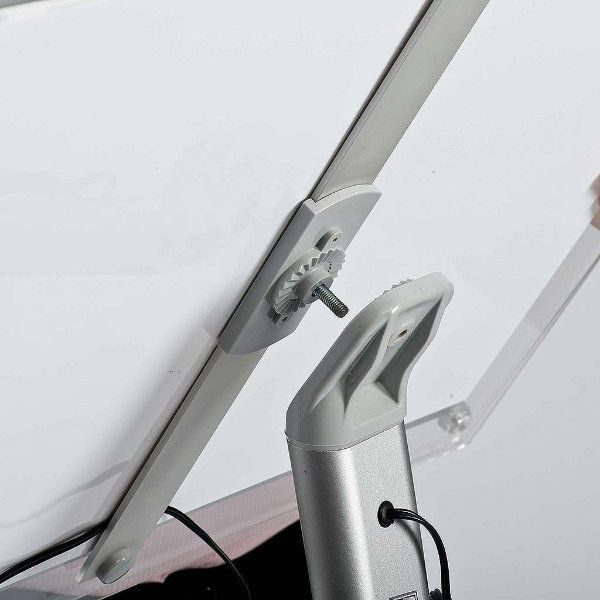 "11"" x 17"" Curved LED Floor Sign & Menu Stand Silver Landscape Portrait"