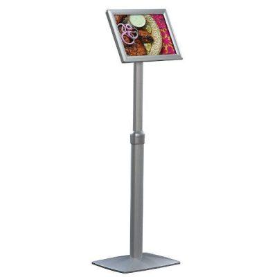 "11"" x 17"" Flexible Floor Sign & Menu Stand Silver Adjustable Height"