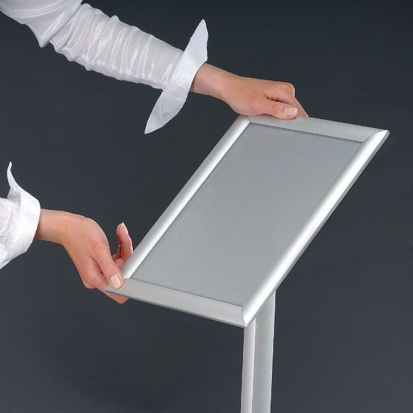 "11"" x 17"" Flexible Floor Sign & Menu Stand Silver Adjustable Height"