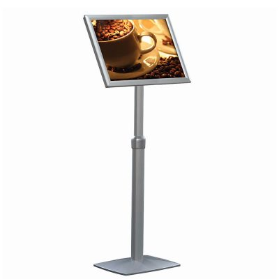 11x17 Flexible Floor Sign & Menu Stand Silver, Adjustable Height