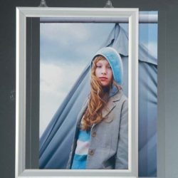11x17 Slide In Frame - 1 inch Silver Mitred Profile Double Sided