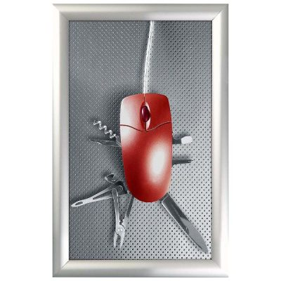 11x17 Snap Poster Frame - 1 inch Silver Profile, Mitred Corner