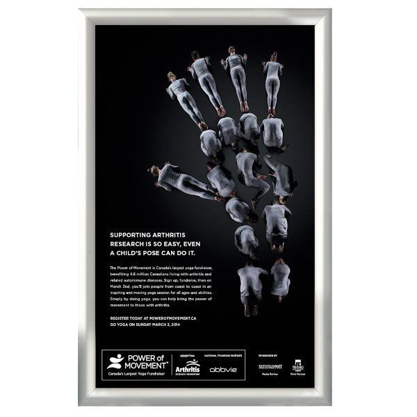 14x22 Snap Poster Frame - 1 inch Silver Profile, Mitred Corner
