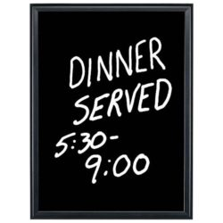 "16""w x 22""h Write On Board Dry Wipe Black Aluminum Frame Black Surface"