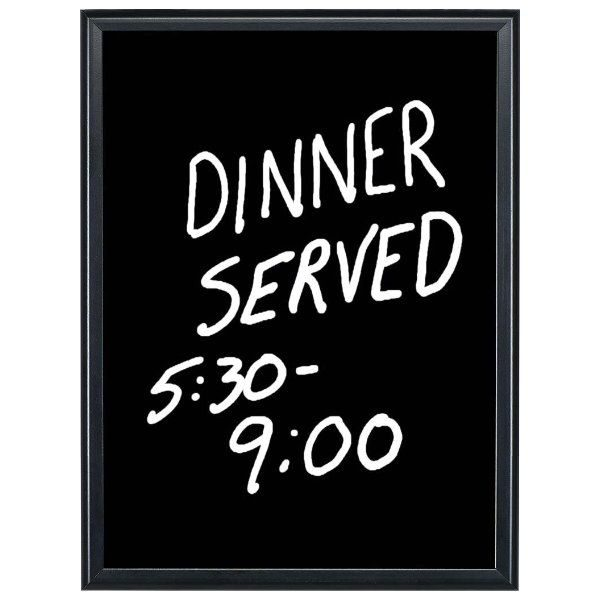 16x22 Write On Board Dry Wipe Black Aluminum Frame Black Surface
