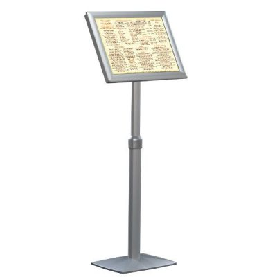 "18"" x 22"" Flexible Floor Sign & Menu Stand Silver Adjustable Height"