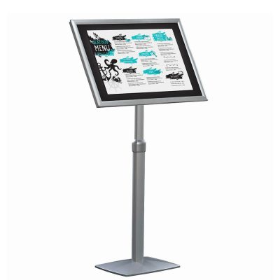 18x22 Flexible Floor Sign Stand & Menu Stand, Silver - Adjustable Height