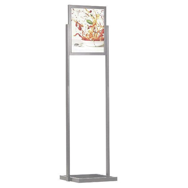 "18""w x 24""h Eco Poster Display Stand Silver 1 Tier Double Sided"