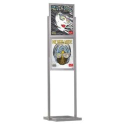 "18""w x 24""h Eco Poster Display Stand Silver 2 Tiers Double Sided"