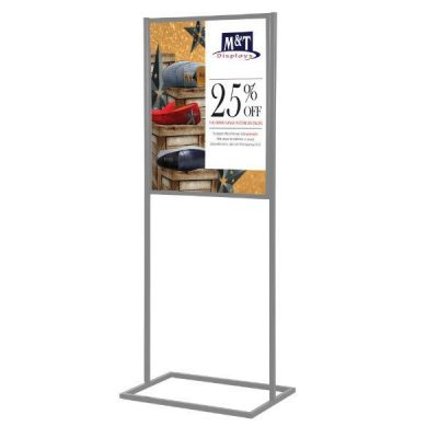 "18""w x 24""h Metal Poster Display Stand With 1 Tier Silver"