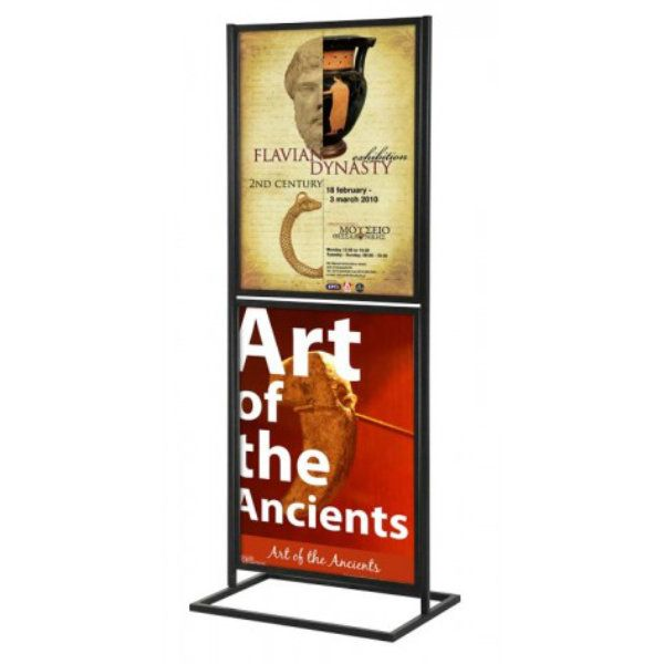 """18""""w x 24""""h Metal Poster Display Stand With 2 Tier Black"""