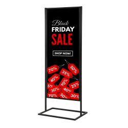 "18""w x 60""h Metal Poster Display Stand with 1 Tier Black"