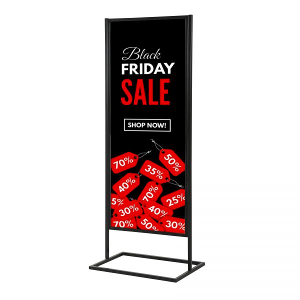 """18""""w x 60""""h Metal Poster Display Stand with 1 Tier Black"""