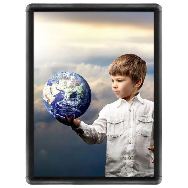 18x24 Snap Poster Frame - 1 inch Black Profile, Round Corner