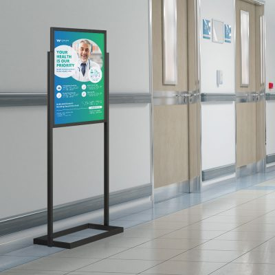 An Eco Poster Display Stand discussing the priority of safety in a hospital