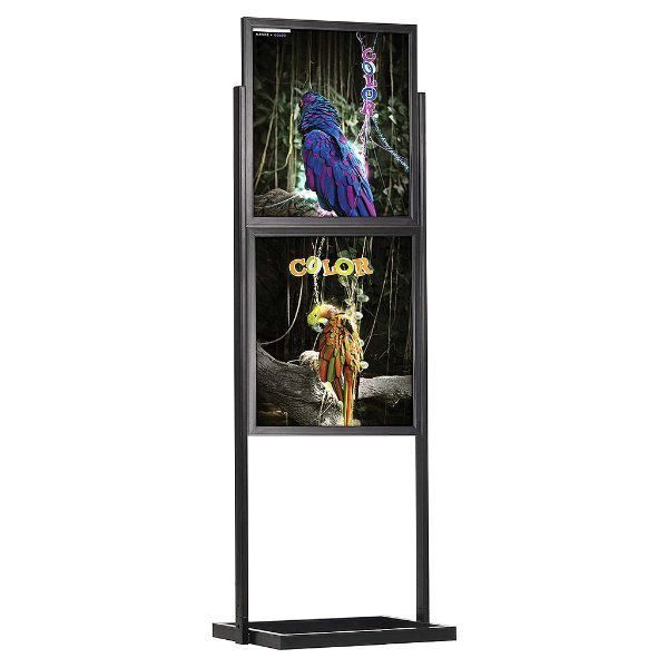 "22""w x 28""h Eco Poster Display Stand Black 2 Tiers Double Sided"