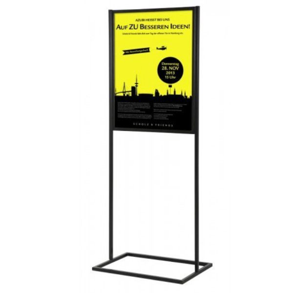 "22""w x 28""h Metal Poster Display Stand With 1 Tier Black"