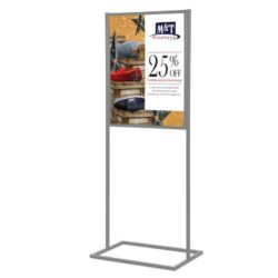 "22""w x 28""h Metal Poster Display Stand With 1 Tier Silver"