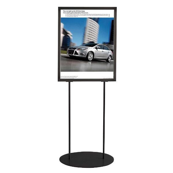 "22""w x 28""h Oval Poster Display Stand - Black Double Sided"