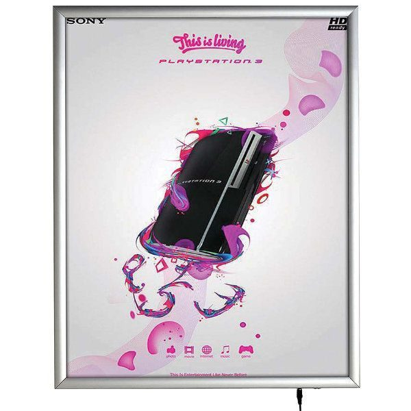 "22""w x 28""h Smart Poster LED Light Box 1"" Silver Aluminium Profile"