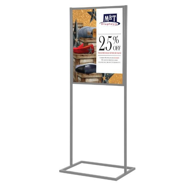 "22""w x 68""h Metal Poster Display Stand Stand With 1 Tier Silver"