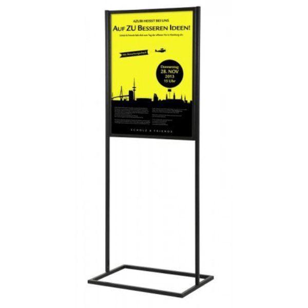 "22""w x 68""h Metal Poster Display Stand with 1 Tier Black"
