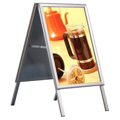 22x28 A Frame Board Silver Aluminum Sidewalk Sign Galvanised Backing