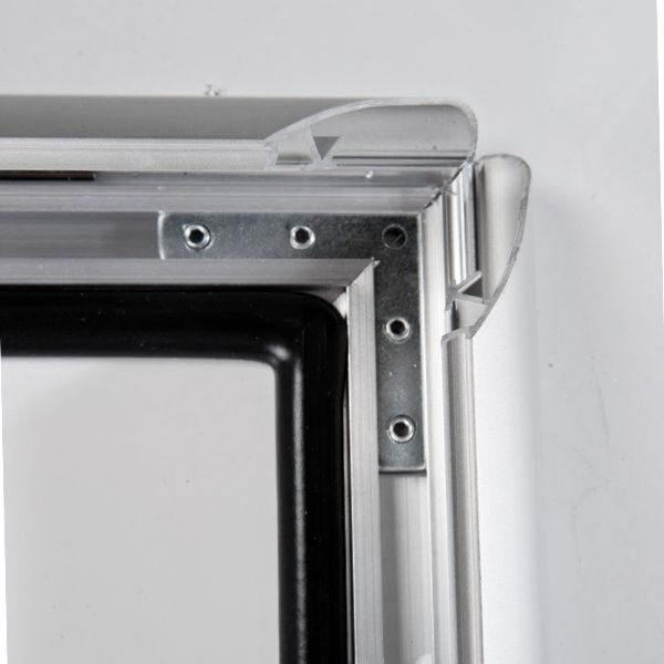 "22x28 Lockable Weatherproof Snap Frame - 1.38"" Silver Mitred Profile"