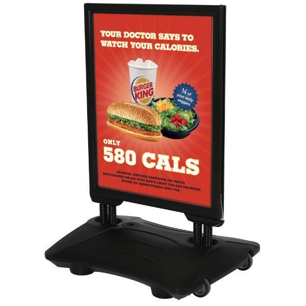 22x28 Slide-in WindPro Black Frame, Black Water Base Sidewalk Sign