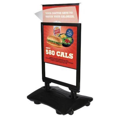 22x28 Slide-in WindPro Black Frame, Black Water Base Sidewalk Sign