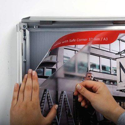 22x28 Snap Poster Frame - 1.25 inch Silver Profile, Safe Round Corner