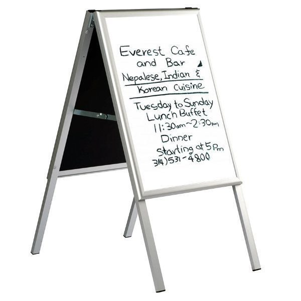 22x28 Write On A Frame Board Sidewalk Sign Silver Frame