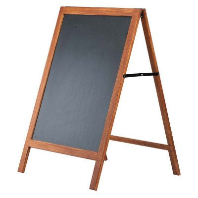 23-3/5x31-1/2 Wooden Stopper A Frame Board with Black Chalk Board