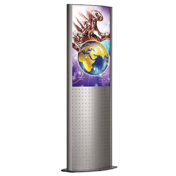 "24""w x 36""h Deco Totem Poster Display Stand Silver Double Sided"