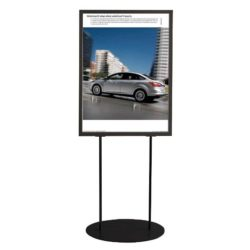 "24""w x 36""h Oval Poster Display Stand - Black Double Sided"