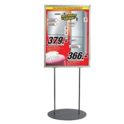 "24""w x 36""h Oval Poster Display Stand - Silver Double Sided"