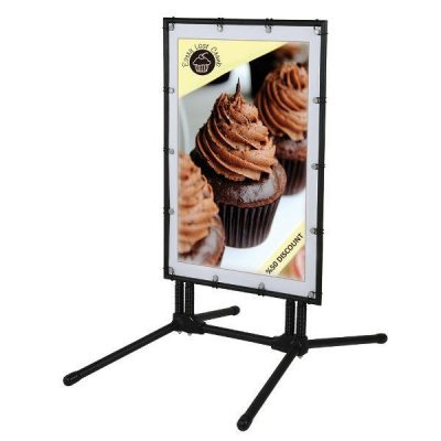 24x36 Banner SwingPro Sidewalk Sign - Black Frame Black Feet