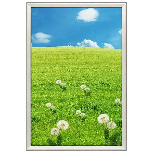 24x36 Snap Poster Frame - 1.25 inch Silver Profile, Safe Round Corner