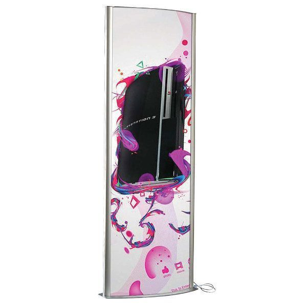 "27""w x 77""h Totem Poster Display Stand Double Sided, With Light"