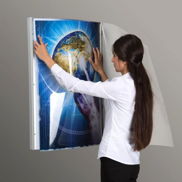 "30""w x 40""h Convex Poster LED Light Box Silver Aluminum Single Sided"