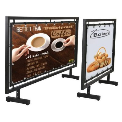 42x24 Street Barrier Sidewalk Sign Q Control Systems Black
