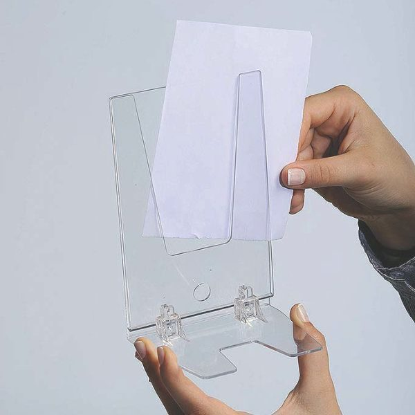 "4""w x 6""h Foldable Clear Acrylic Brochure & Leaflet Holder"