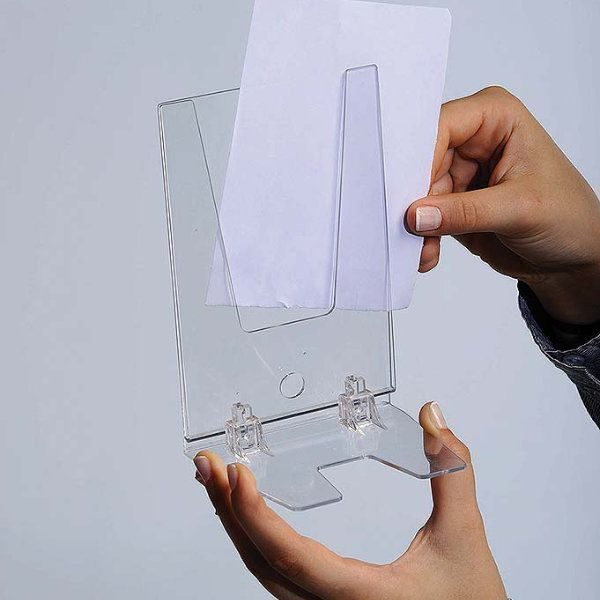 "5""w x 7""h Foldable Clear Acrylic Brochure & Leaflet Holder"