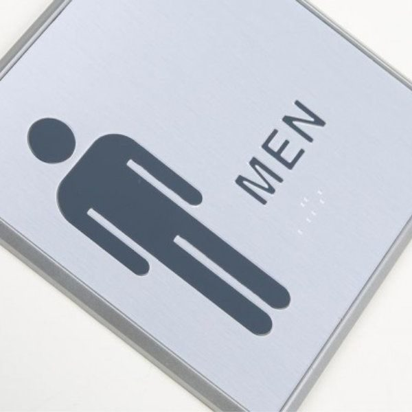 "6"" x 6"" Restroom Sign for Men Aluminum"