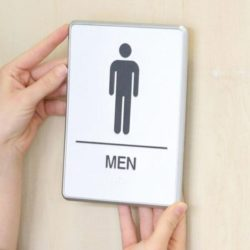"6"" x 8"" Restroom Sign for Men with Braille - Aluminum"