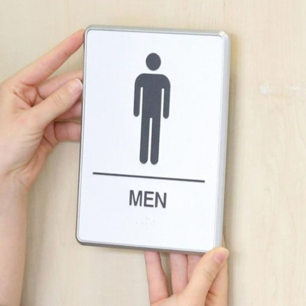 """6"""" x 8"""" Restroom Sign for Men with Braille - Aluminum"""
