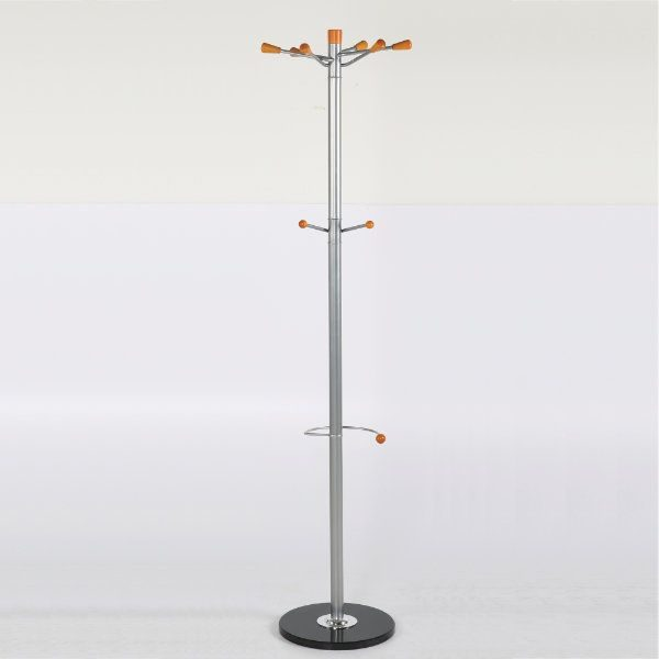 "69"" x 14"" Metal Tube & Marble Base Coat Hanger, Sunflower Coat Rack"