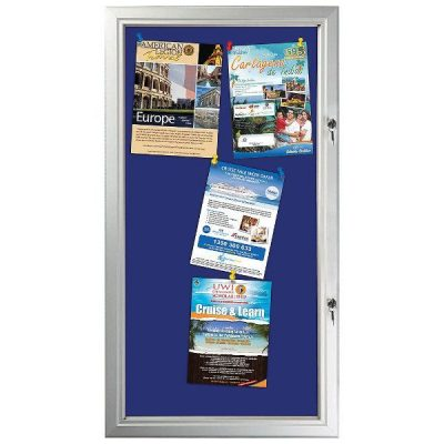 "6x(8.5""w x 11h"") Blue Felt Enclosed Bulletin Board Outdoor Use"