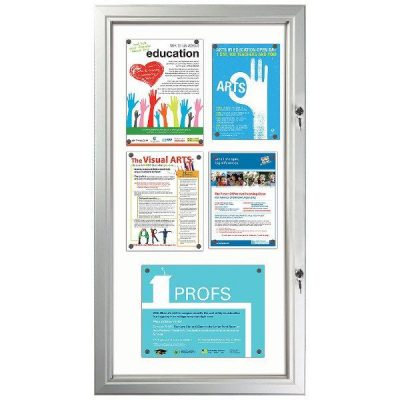 "6x(8.5""w x 11h"") Enclosed Magnetic Bulletin Board Outdoor Use"